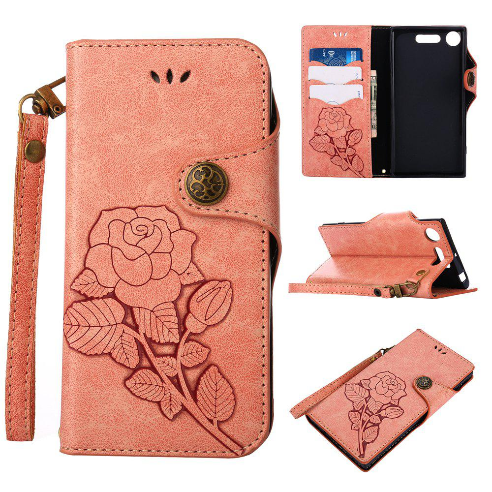 Cheap Retro Rose PU Leather Magnetic Closure Flip Wallet Protective Case with Lanyard for Sony Xperia XZ1