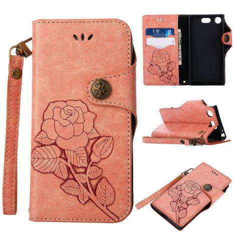 Chic Retro Rose PU Leather Magnetic Closure Flip Wallet Protective Case with Lanyard for Sony Xperia XZ1 Compact
