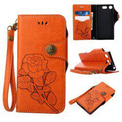 Retro Rose PU Leather Magnetic Closure Flip Wallet Protective Case with Lanyard for Sony Xperia XZ1 Compact -