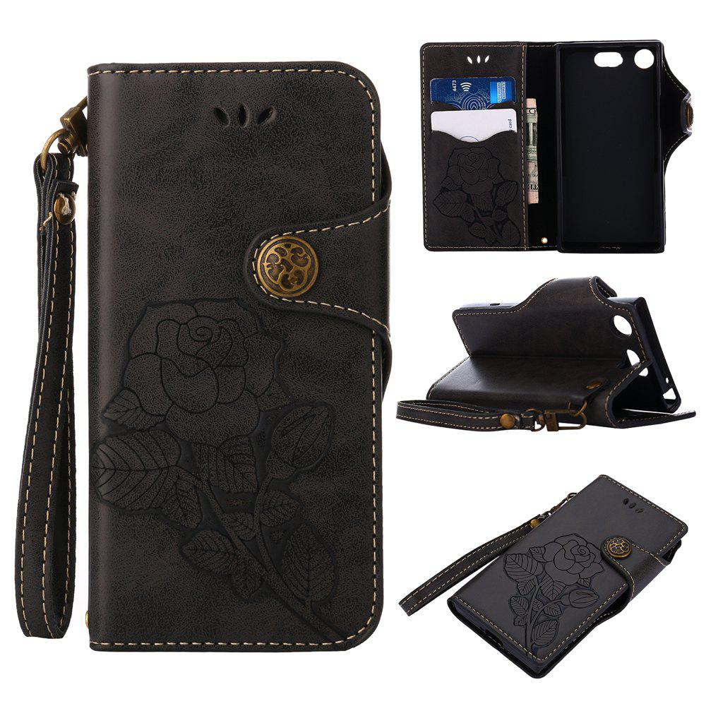 Online Retro Rose PU Leather Magnetic Closure Flip Wallet Protective Case with Lanyard for Sony Xperia XZ1 Compact