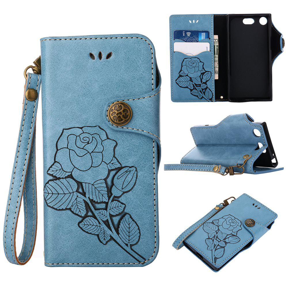 Hot Retro Rose PU Leather Magnetic Closure Flip Wallet Protective Case with Lanyard for Sony Xperia XZ1 Compact
