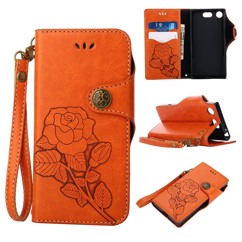 Shop Retro Rose PU Leather Magnetic Closure Flip Wallet Protective Case with Lanyard for Sony Xperia XZ1 Compact