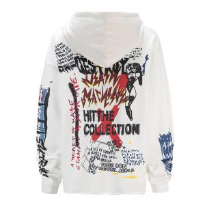 Women's Fashion Large Size Graffiti Print Long-Sleeved Hooded Sweatshirt -