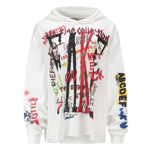 Cheap Women's Fashion Large Size Graffiti Print Long-Sleeved Hooded Sweatshirt