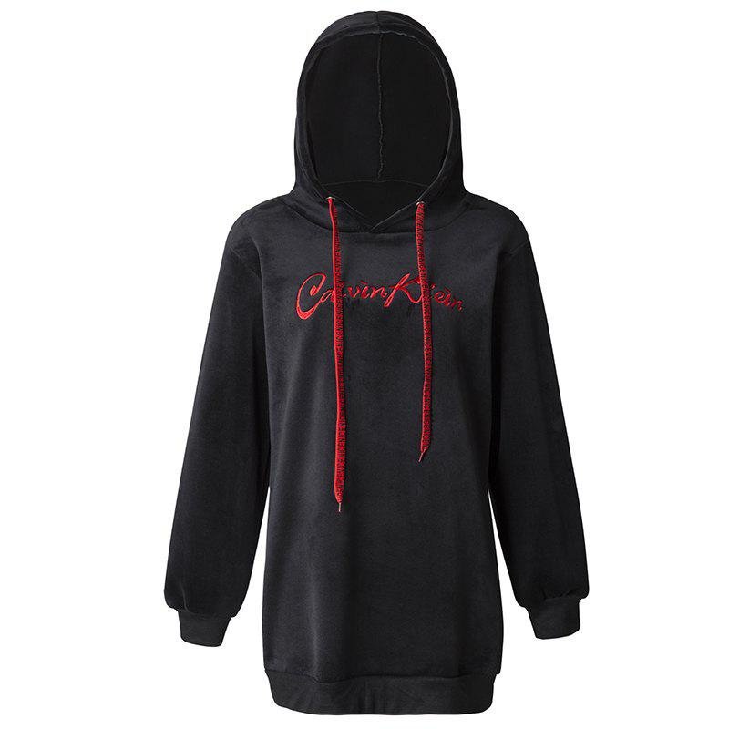 Latest Women's Casual Fashion Letters Embroidered Long-Sleeved Hooded Sweatshirt