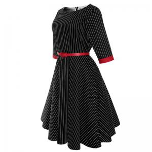 2018 New Short-Sleeved Cotton Striped Vintage Audrey Hepburn Dress Belt -