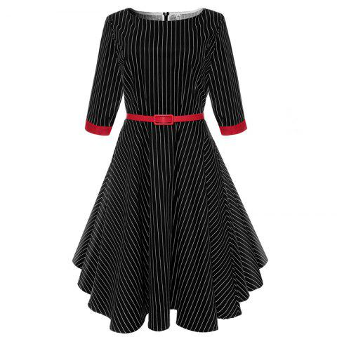 Outfit 2018 New Short-Sleeved Cotton Striped Vintage Audrey Hepburn Dress Belt