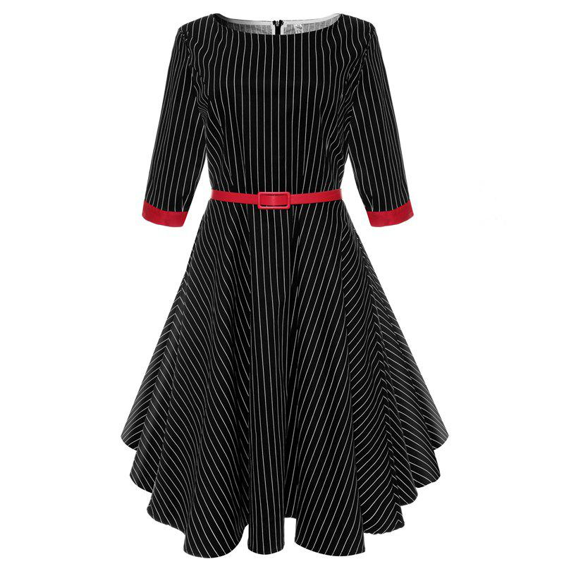 Buy 2018 New Short-Sleeved Cotton Striped Vintage Audrey Hepburn Dress Belt