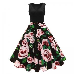 2018 New V-Neck Camellia Floral Retro Print Audrey Hepburn Size Dress -