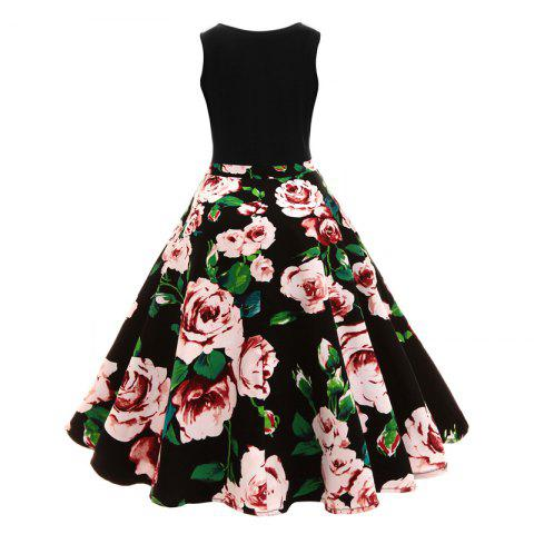Outfits 2018 New V-Neck Camellia Floral Retro Print Audrey Hepburn Size Dress