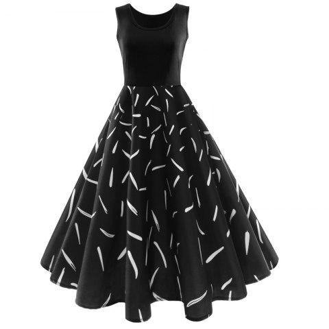 Trendy New Vintage Feathered Style Large Dress