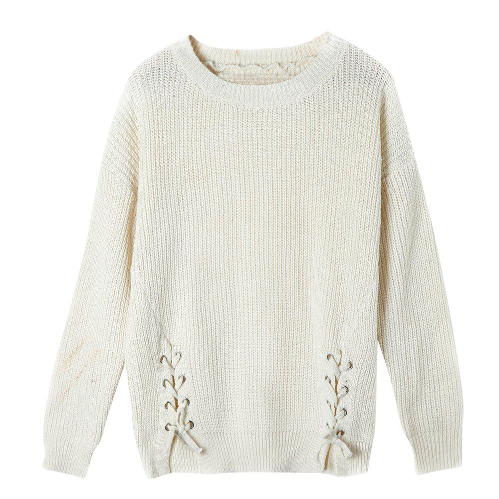 Autumn and Winter New Round Neck Long Sleeved Loose Hem Corn Silk Knit Sweater Women 244260801