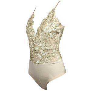 Glitter Embroidery Pattern Tight Deep v Sling Piece Shorts Female -