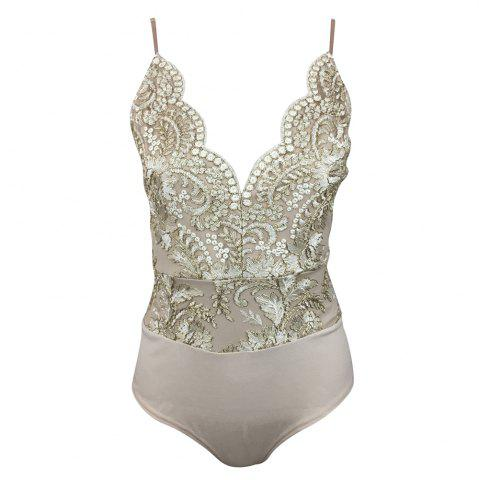 Affordable Glitter Embroidery Pattern Tight Deep v Sling Piece Shorts Female
