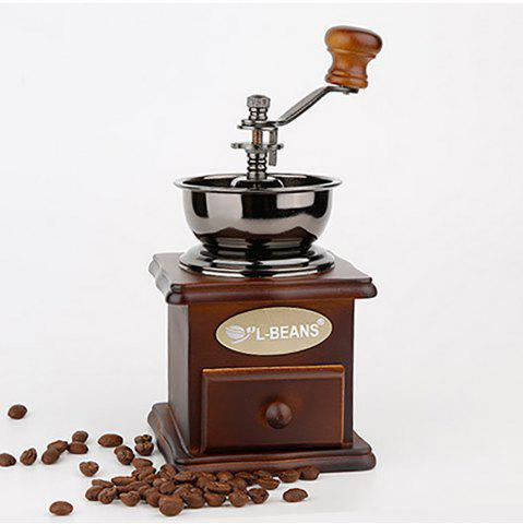 Unique Manual Coffee Bean Grinder Hand Grinding Vintage Solid Wood Adjust Beans Machine Makers