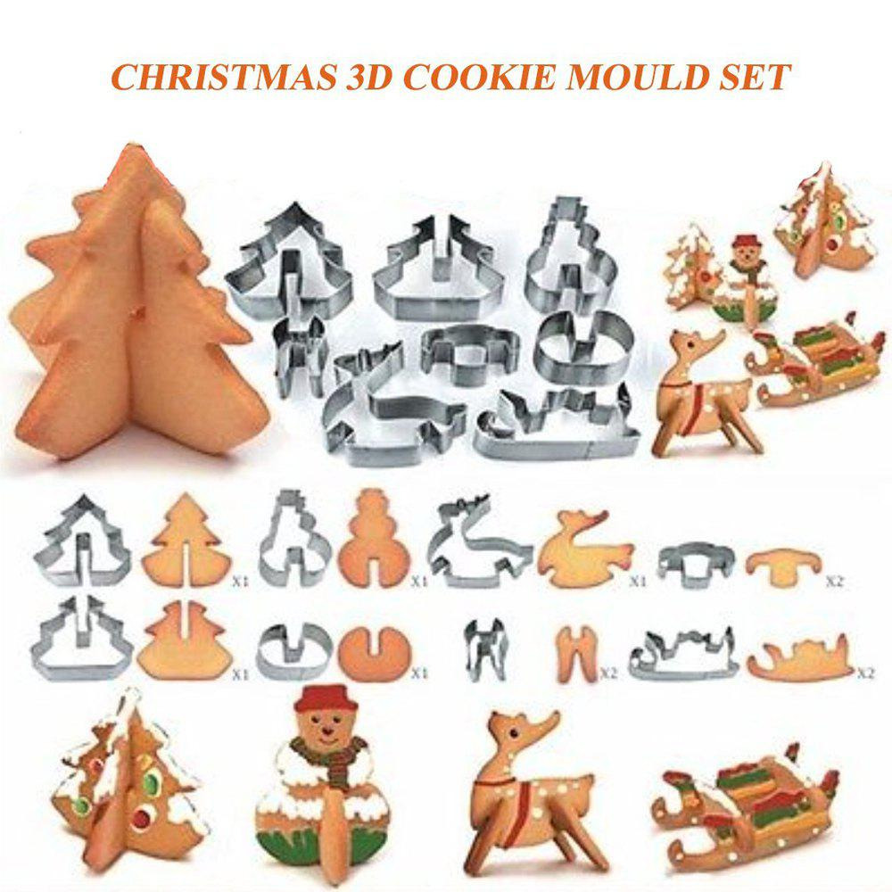 Fashion Creative 3D Christmas Biscuit Mold Stainless Steel Cookie Cutter Sugar Cake Mold Fondant Cake Decoration Tools DIY Bakin