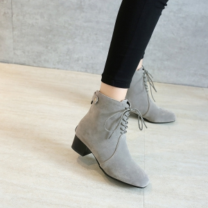 Low-Heeled Rough Retro Frosted Boots -