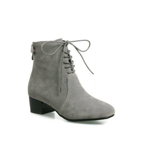 Fashion Low-Heeled Rough Retro Frosted Boots