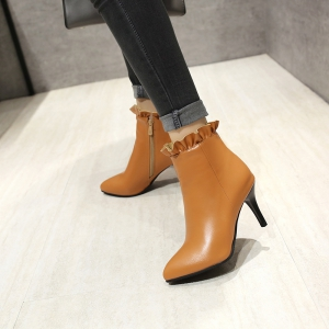 Sharp Pointed with High-Heeled Sweet Lace Fashion Naked Boots -