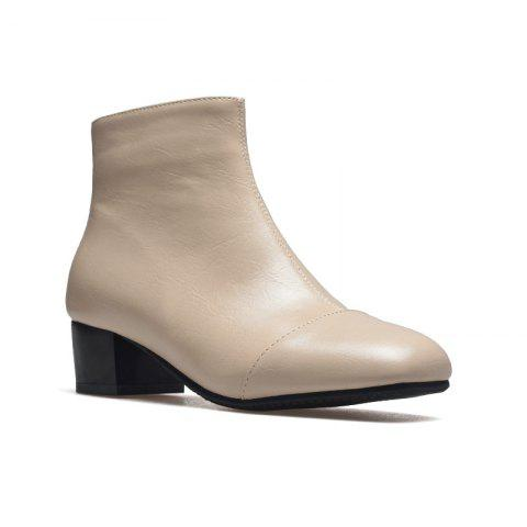 Online Low-Heeled Rough Retro Wild Bare Boots