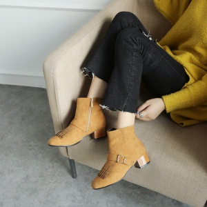 Low-Heeled Rough Fashion Belt Buckle Bare Boots -