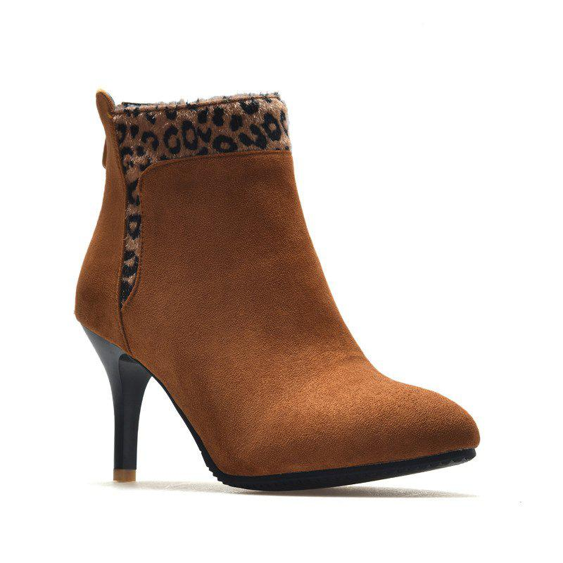 New High-Heeled Fashion Leopard Bare Boots