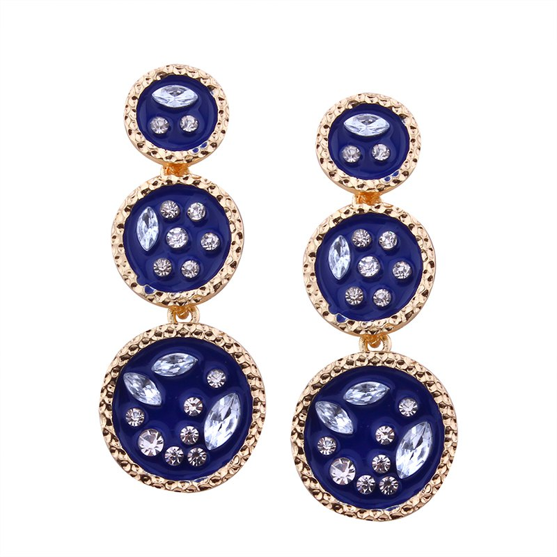 Buy Geometric Elements Circular Irregularity Rhinestone Earrings