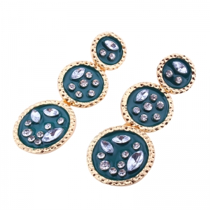 Geometric Elements Alloy Circular Irregularity Rhinestone Earrings -