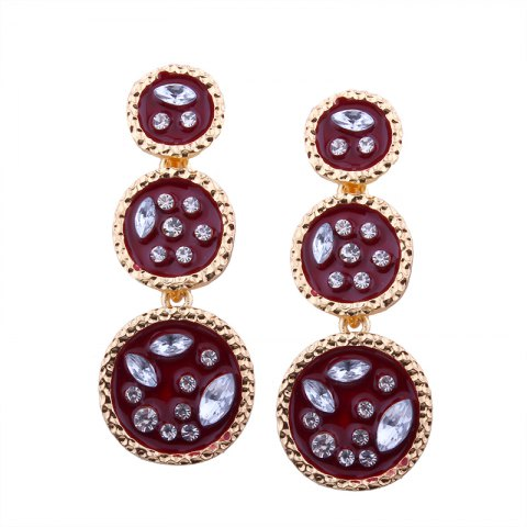 Online Geometric Elements Alloy Circular Irregularity Rhinestone Earrings