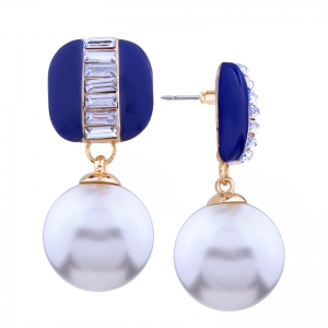 Geometric Element  Rhinestone Pearl Alloy Earrings -