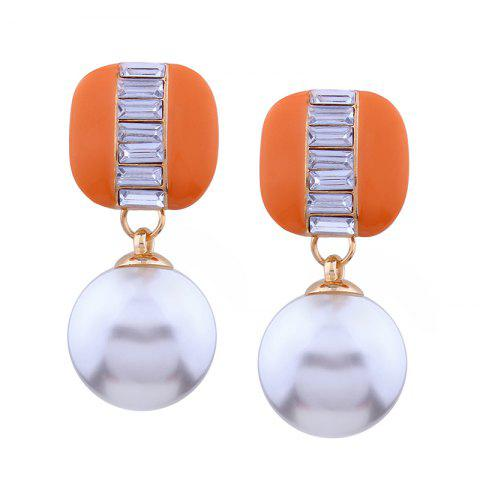 Sale Geometric Element  Rhinestone Pearl Alloy Earrings