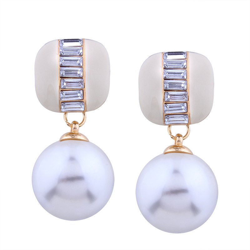Affordable Geometric Element  Rhinestone Pearl Alloy Earrings