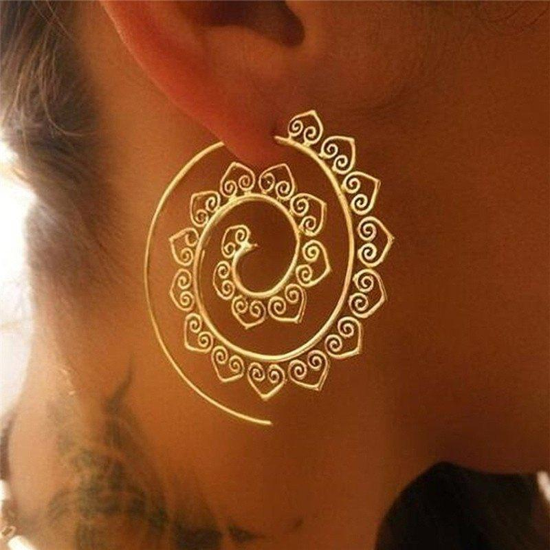 Online Exaggerated Women Round Rotation Earrings