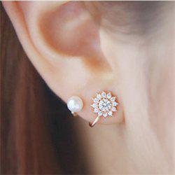 Elegant and Elegant Female Pearl Flower Shaped Ear Nail -