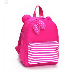 Girl Backpack Bow Decoration Stripe Pattern School Bag -