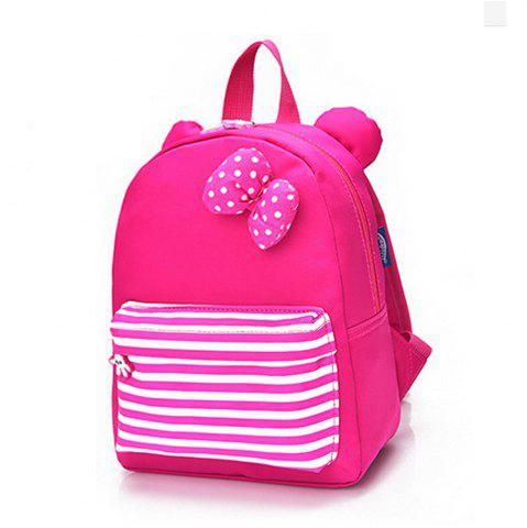 Hot Girl Backpack Bow Decoration Stripe Pattern School Bag