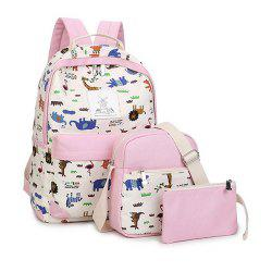 Women's Backpack Trendy Color Block Printing Pattern All Match Bags Set -