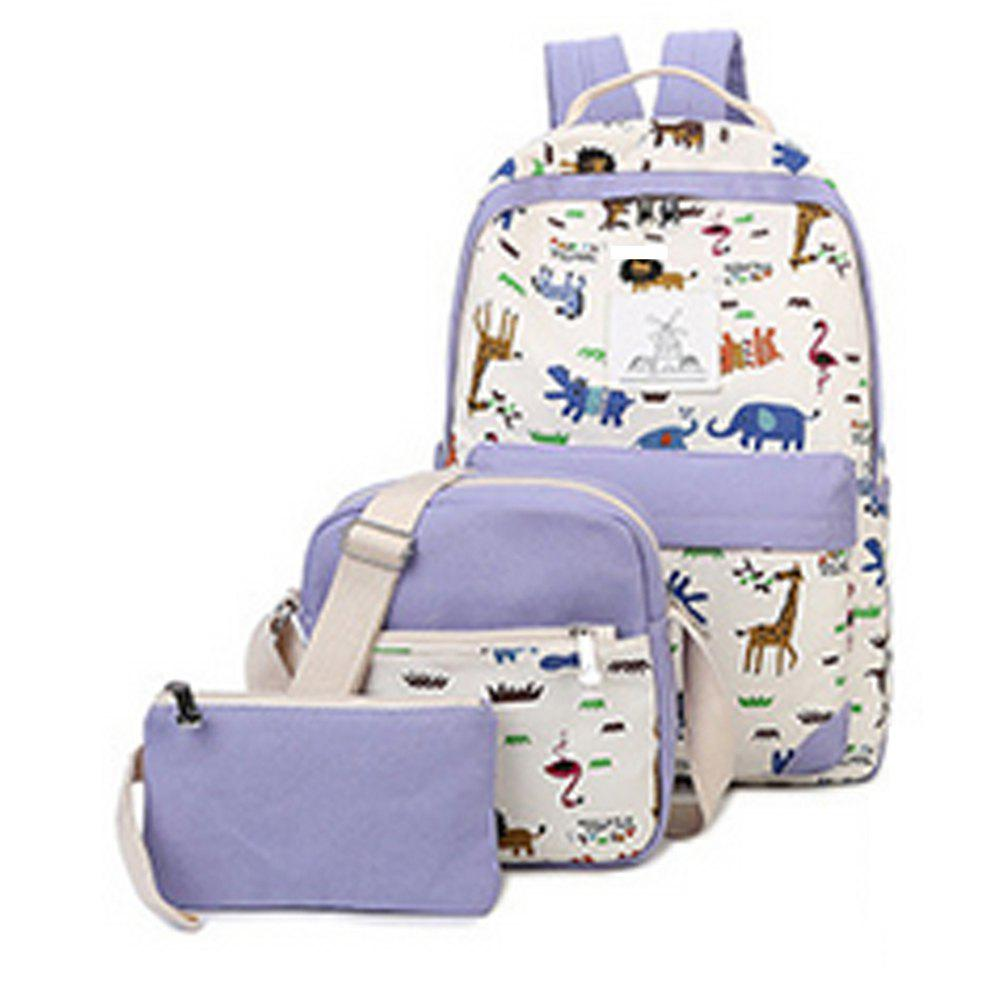 Best Women's Backpack Trendy Color Block Printing Pattern All Match Bags Set