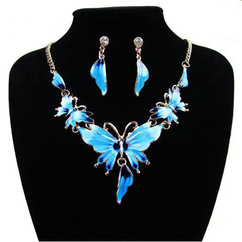 Cheap Women Diamond Vintage Butterfly Pendants Necklace with Earrings Choker Jewelry Set