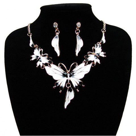 Store Women Diamond Vintage Butterfly Pendants Necklace with Earrings Choker Jewelry Set
