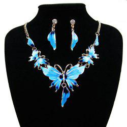 Women Diamond Vintage Butterfly Pendants Necklace with Earrings Choker Jewelry Set -