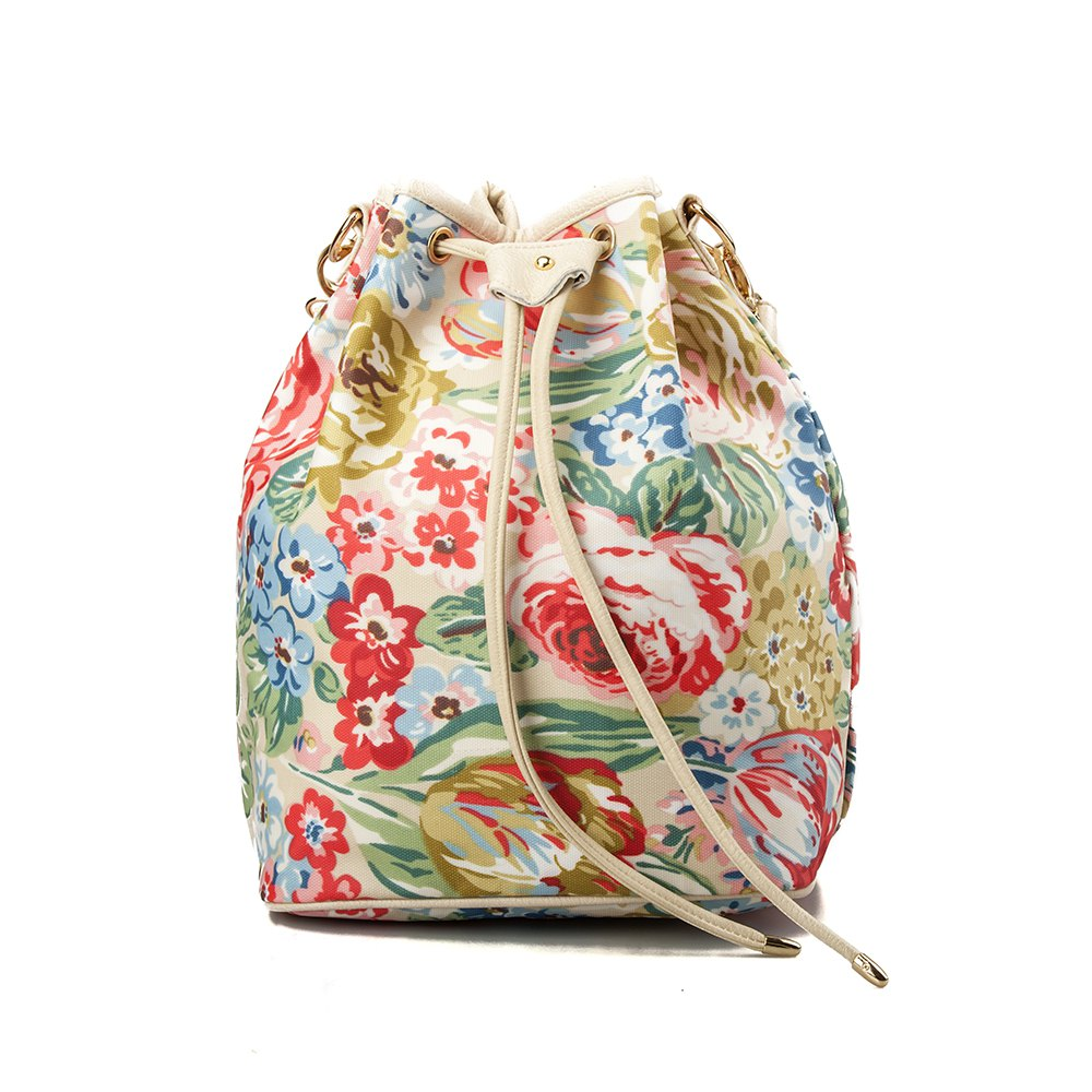 Outfit Drawstring Backpack For Women Waterproof Drawstring Sports Bag (Red flower)