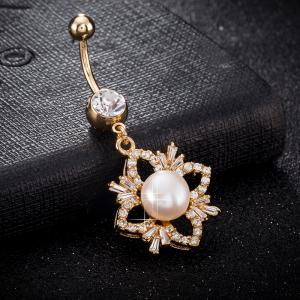 Exquise Mode Pearl Micro Réglage Navel Ring P0225 -