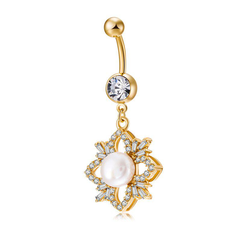 Exquise Mode Pearl Micro Réglage Navel Ring P0225