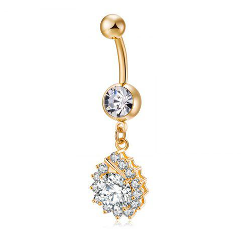 Store Simplified Water Drop Shaped Zircon Navel Ring P0229