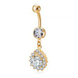 Simplified Water Drop Shaped Zircon Navel Ring P0229 -