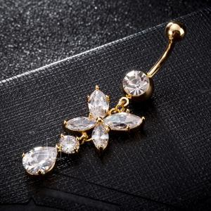 Fashion big petal Zircon Navel Ring P0237 -
