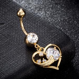 Fashionable Pierced Heart Shaped Zircon Navel Ring P0238 -