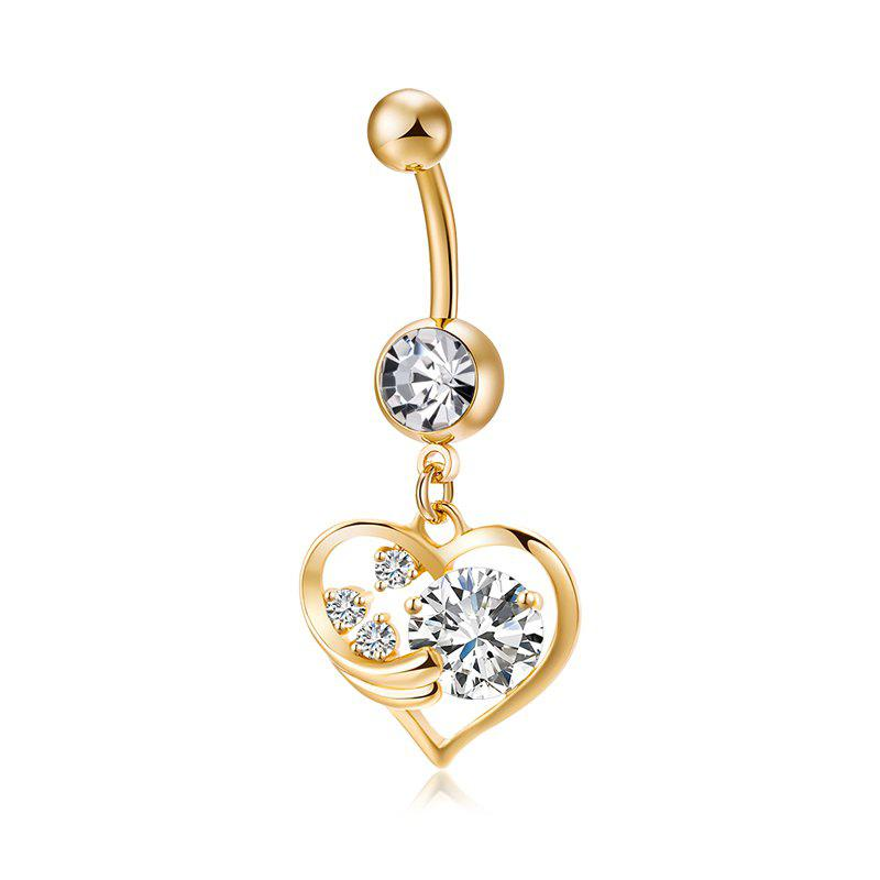 Cheap Fashionable Pierced Heart Shaped Zircon Navel Ring P0238