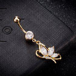Elegant Butterfly Zircon Navel Ring P0240 -
